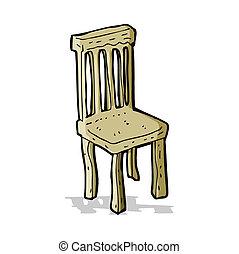 chaise bois, vieux, dessin animé