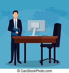 chaise bureau, bureau, dossier, reussite, informatique, homme affaires, business