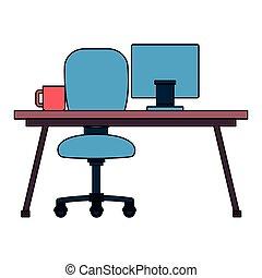 chaise, bureau bureau