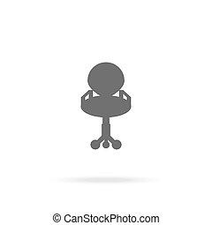 chaise, bureau, icône