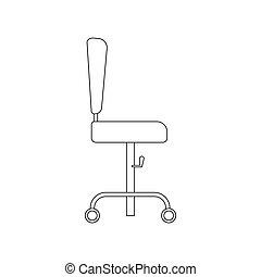 chaise, bureau, illustration