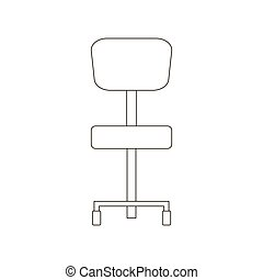 chaise, bureau, illustration