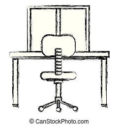 chaise, bureau, scène, bureau, lieu travail