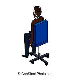 chaise, caractère, jeune, bureau, homme