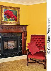 chaise, cheminée, rouges