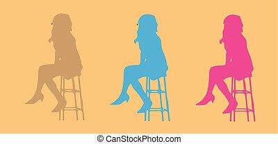 chaise, compteur, barre, séance gens