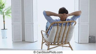 chaise, confortable, homme, salon, apprécier, délassant, ...