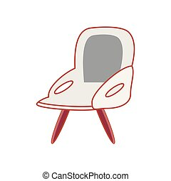 chaise, confortable, isolé, icône