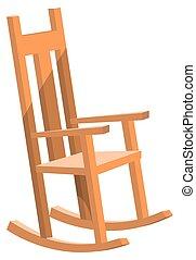 chaise, courbé, bascule, bois, balancer, meubles