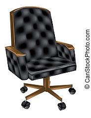 chaise cuir, bureau