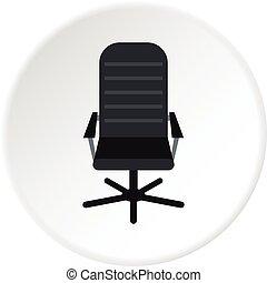 chaise cuir, cercle, bureau, icône