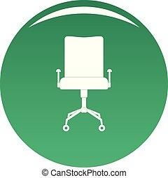 chaise cuir, vecteur, vert, icône