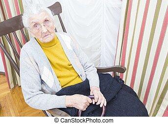 chaise, dame, personnes agées