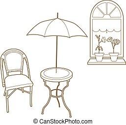 chaise, devant, table, fenêtre