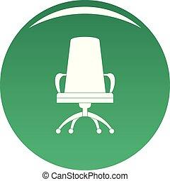 chaise directeur, vecteur, vert, icône