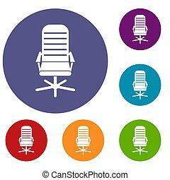 chaise, ensemble, bureau, icônes