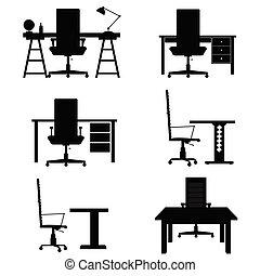chaise, ensemble, illustration, bureau bureau