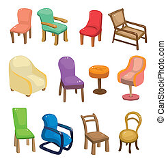 chaise, ensemble, meubles, icône, dessin animé