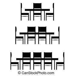 chaise, ensemble, noir, illustration