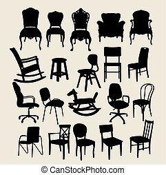 chaise, ensemble, silhouette