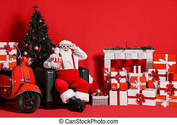 chaise, entiers, asseoir, fond, boîte, claus, photo, couleur, cheveux, isolé, rouges, santa, ornement, noel, maïs, blanc, pop, x-mas, prise, taille, clair