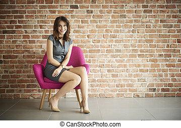 chaise, femme, confortablement, séance