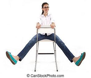 chaise, femme, heureux
