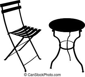 chaise fer, table, forgé, ombre, jardin