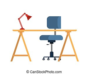 chaise, fond blanc, bureau bureau