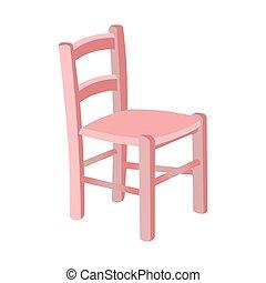 chaise, gosses, blanc, isolé, arrière-plan., rose, bois