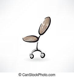 chaise, grunge, bureau, icône