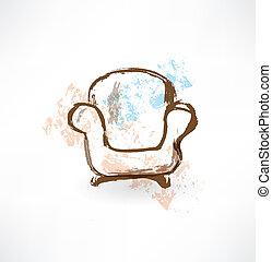 chaise, grunge, icon.