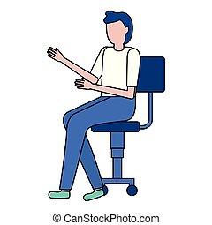 chaise, homme, bureau, séance