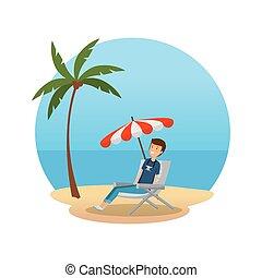chaise, homme, caractère, touriste, séance