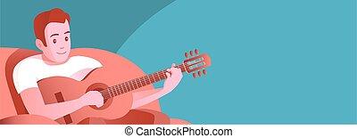 chaise, homme, guitar., jeune, jeux