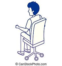 chaise, homme, jeune, bureau, séance