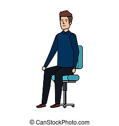 chaise, homme, jeune, séance