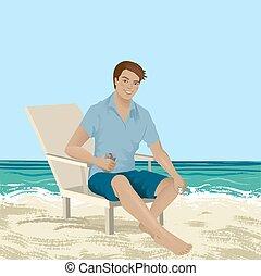 chaise, homme, plage, séance