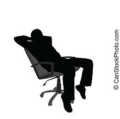 chaise, homme relâche, séance