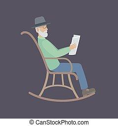 chaise, homme, vieux, séance