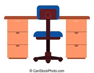 chaise, icône, isolé, bureau bureau