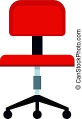 chaise, icône, isolé, bureau, rouges