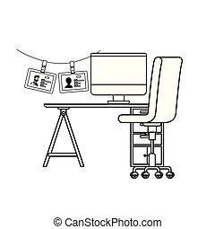 chaise, icône, silhouette, bureau bureau