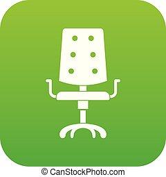 chaise, icône, vert, bureau, numérique