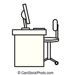 chaise, informatique, bureau bureau