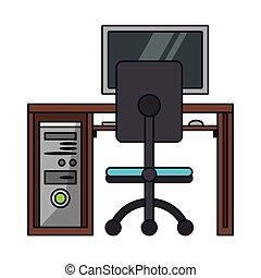 chaise, informatique, dessin animé, bureau bureau