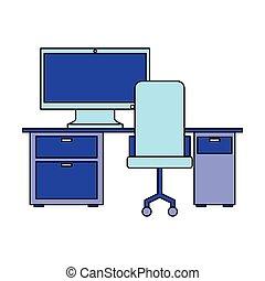 chaise, informatique, lieu travail, bureau bureau