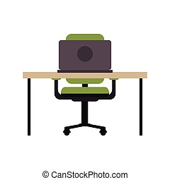 chaise, informatique, lieu travail, icône, bureau