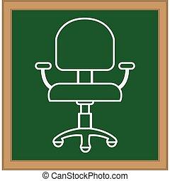 chaise, isolé, bureau