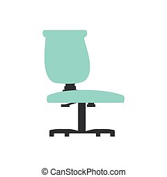 chaise, isolé, bureau, icône